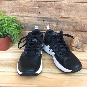 Adidas black and white mid basketball shoes